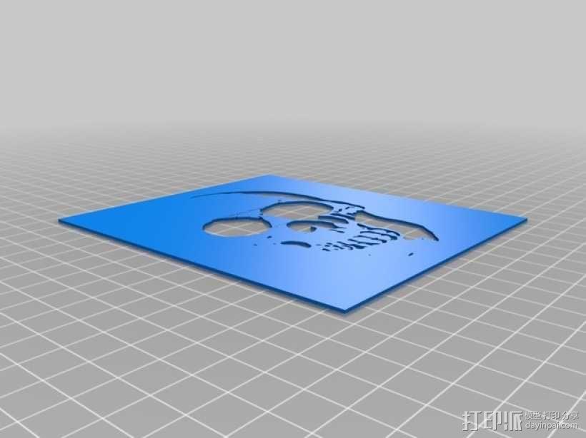 骷髅头图形漏字板 3D模型  图1