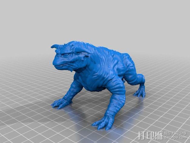魔鬼犬 雕塑 3D模型  图2