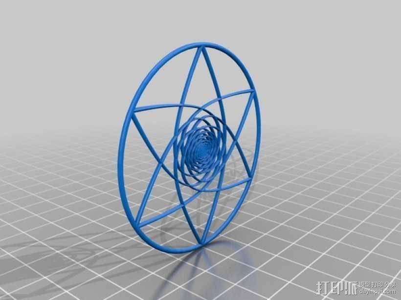 螺旋涡流形花 3D模型  图1