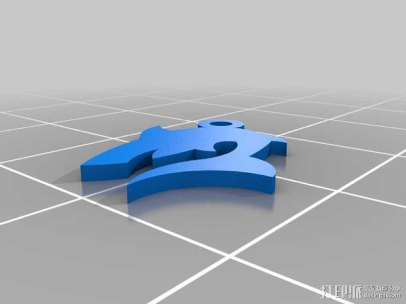 鲨鱼坠饰 3D模型  图1