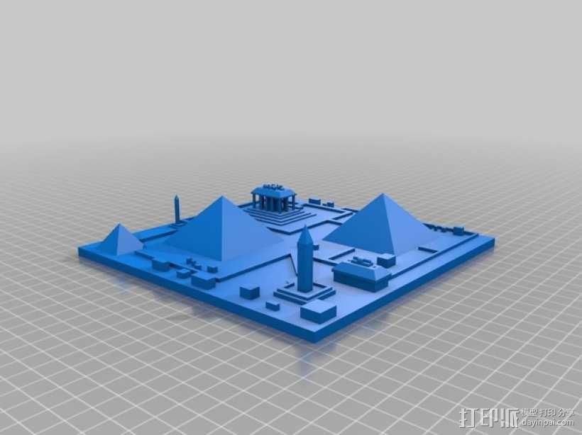 古埃及吉萨金字塔模型 3D模型  图1