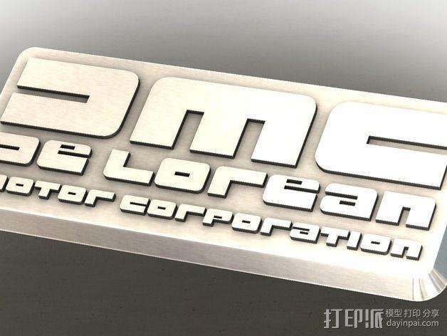 DMC De Lorean徽章 3D模型  图2