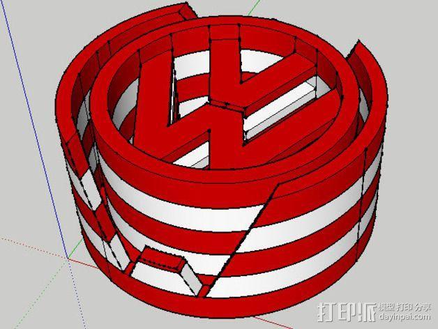 大众汽车标志 托盘 杯托 3D模型  图7