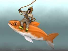 潜水员和鱼 模型 3D模型