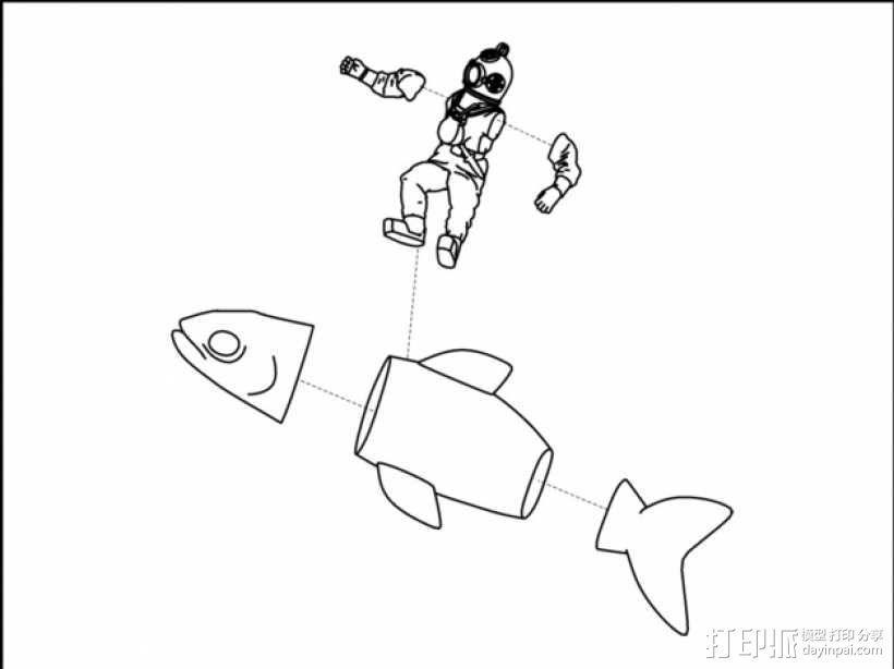 潜水员和鱼 模型 3D模型  图4