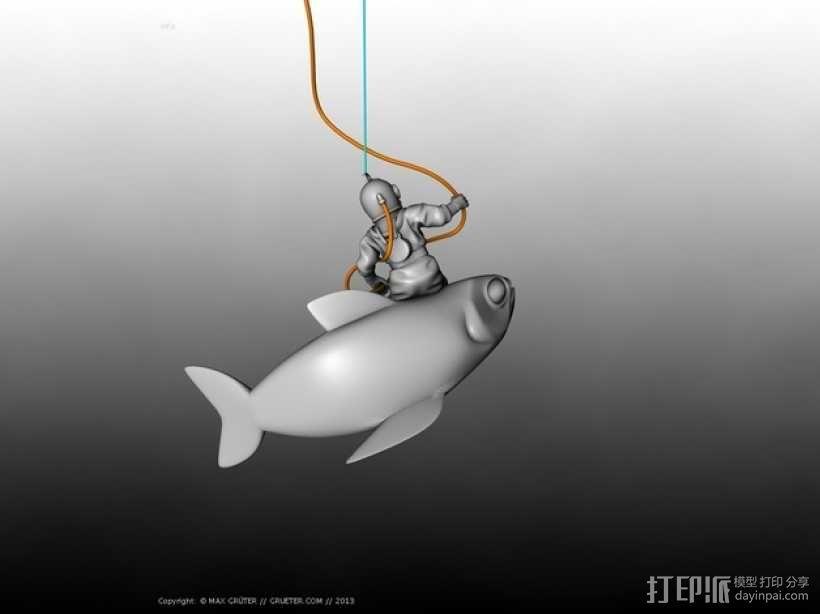 潜水员和鱼 模型 3D模型  图3