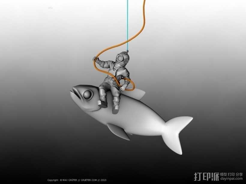 潜水员和鱼 模型 3D模型  图2