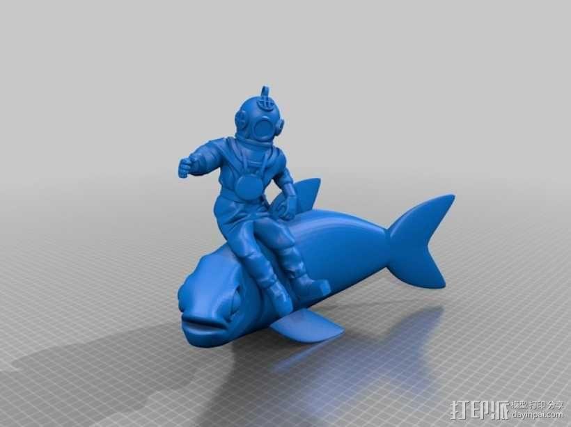 潜水员和鱼 模型 3D模型  图7