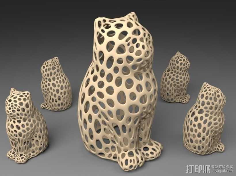 镂空猫模型 3D模型  图1