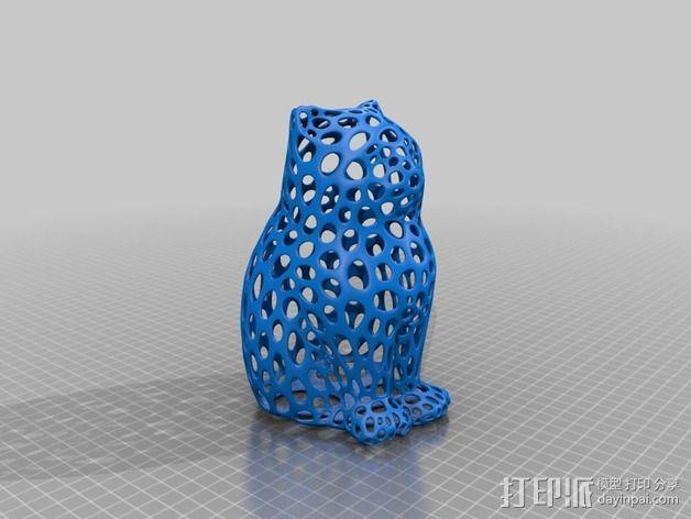 镂空猫模型 3D模型  图2