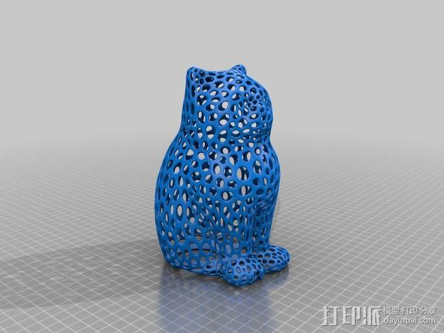 镂空猫模型 3D模型  图3