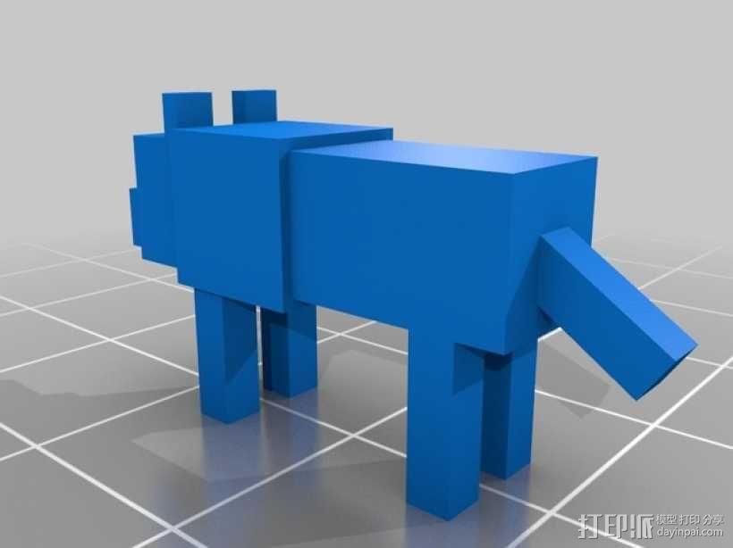 狼模型 像素图模型 我的世界 3D模型  图2
