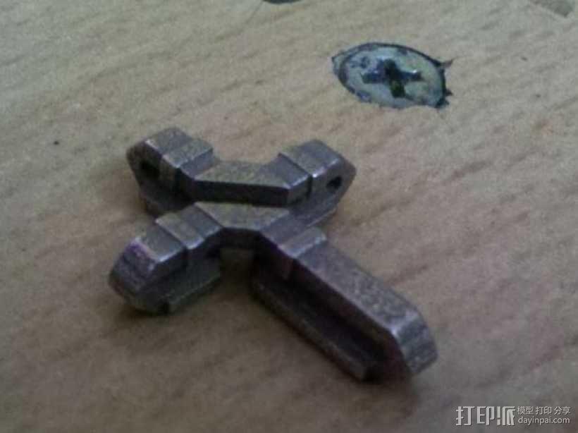 扁平交错十字架 3D模型  图1