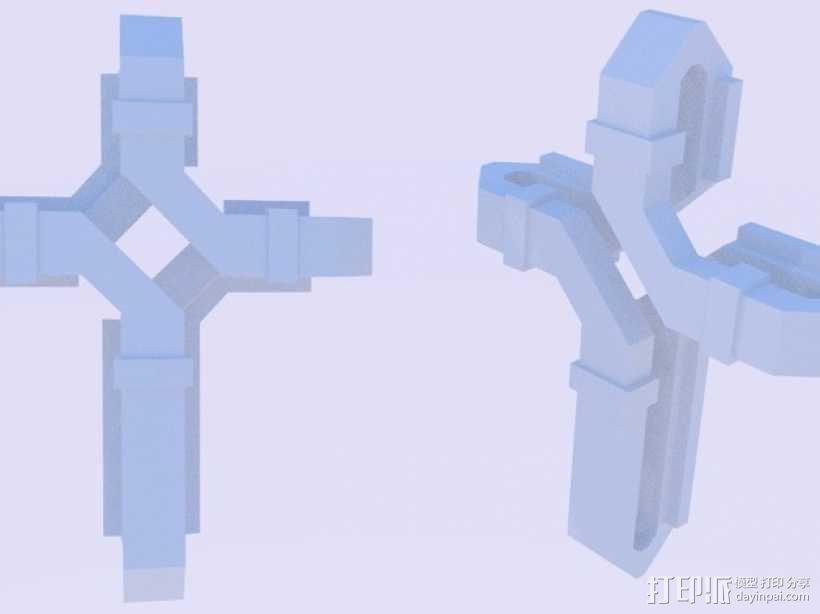 扁平交错十字架 3D模型  图6