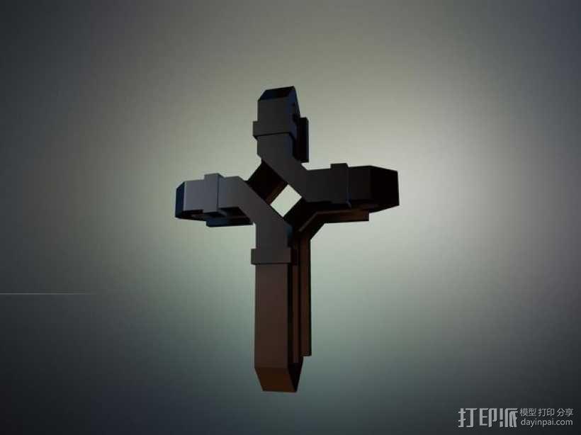 扁平交错十字架 3D模型  图5