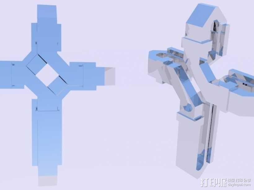 扁平交错十字架 3D模型  图8