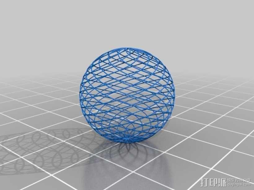 菱格纹球体 3D模型  图2