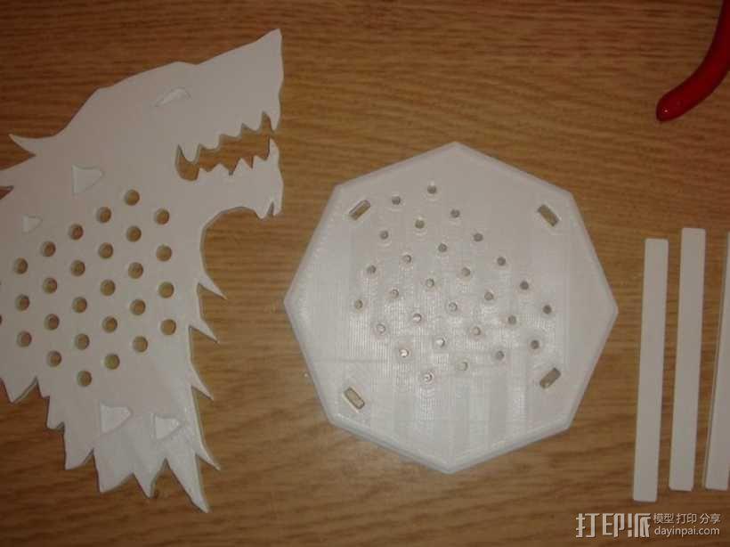 权利的游戏史塔克家族徽章笔筒 3D模型  图3
