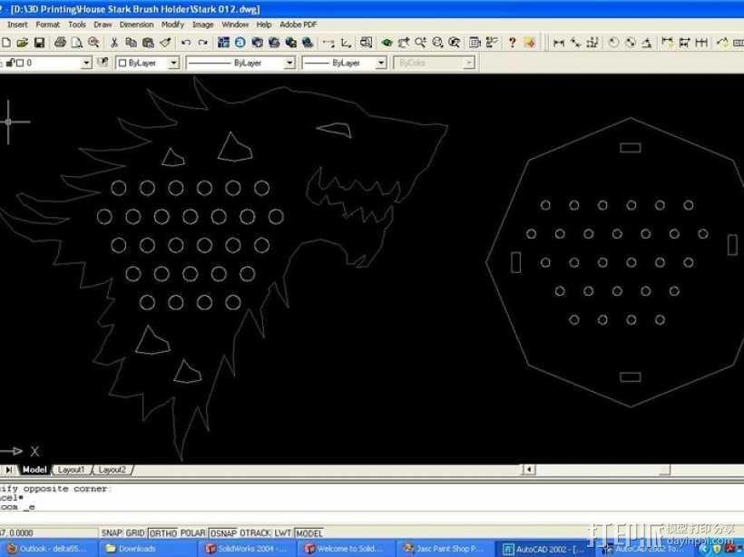 权利的游戏史塔克家族徽章笔筒 3D模型  图9