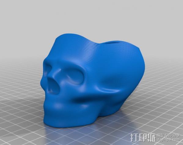 骷髅头花盆 3D模型  图2
