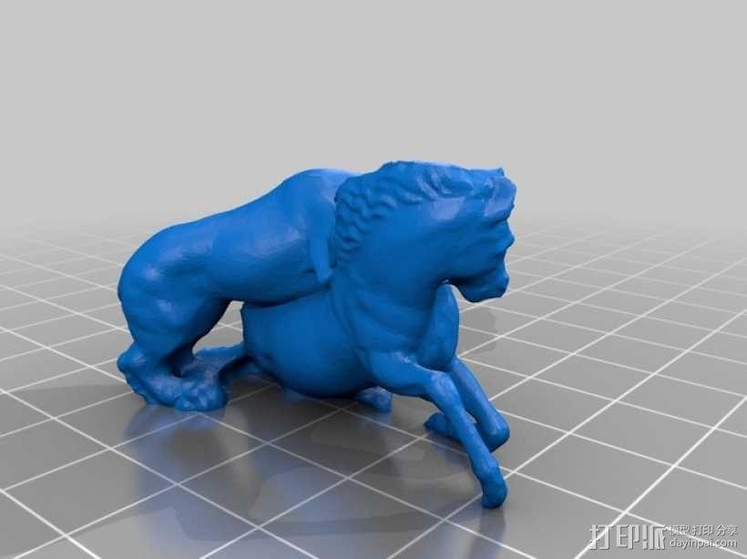 狮子捕马模型 3D模型  图2