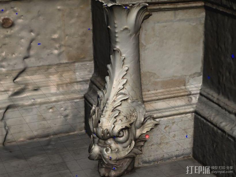 卢浮宫的鱼雕塑模型 3D模型  图1