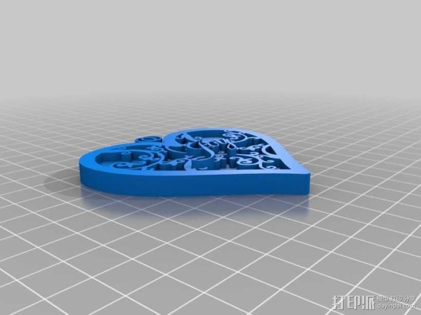 心形坠 3D模型  图1
