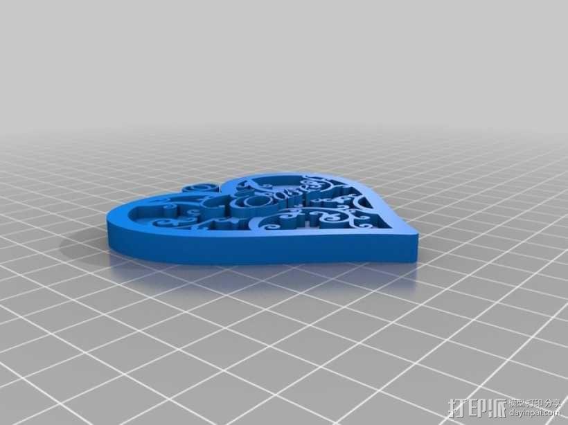 心形坠 3D模型  图3