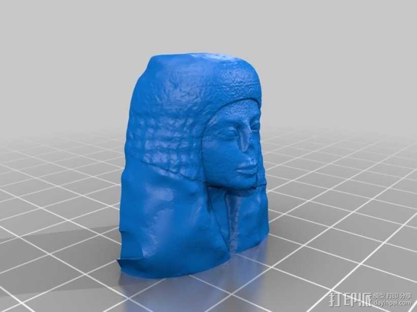 埃及女性头像雕塑 3D模型  图3