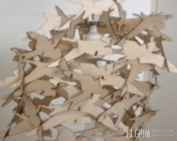 小鸟灯罩 3D模型  图4