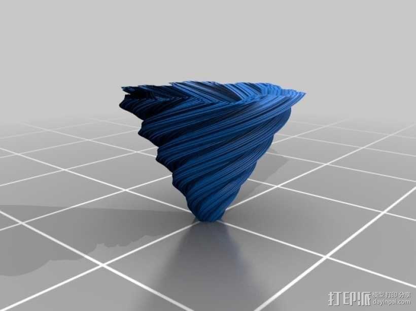 螺旋形科赫雪花花瓶 3D模型  图1