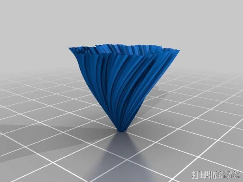 螺旋形科赫雪花花瓶 3D模型  图2