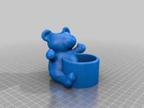小熊笔筒 3D模型