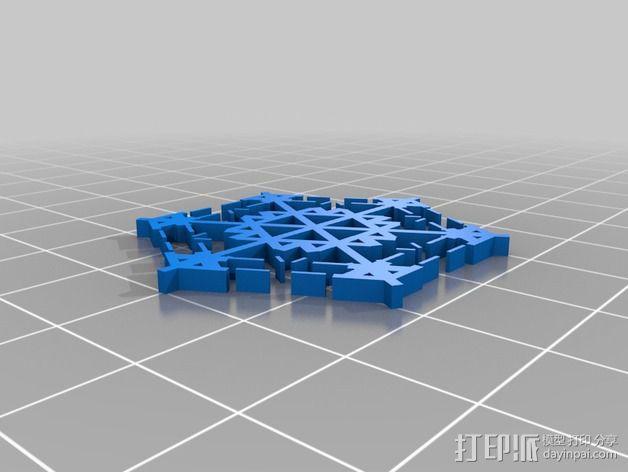 参数化雪花片模具 3D模型  图3