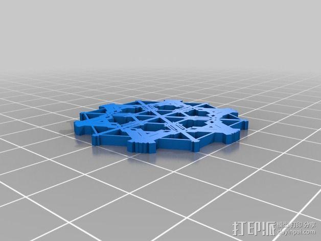参数化雪花片模具 3D模型  图10