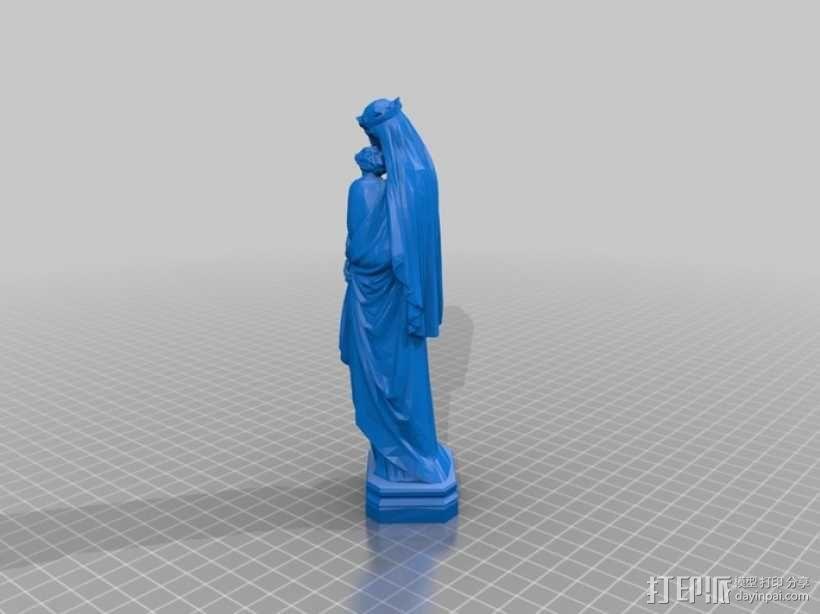 圣母玛利亚雕塑 3D模型  图1