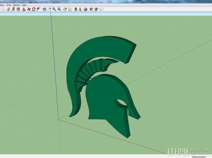 斯巴达人头像 标志  3D模型  图1