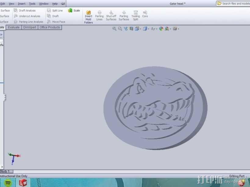 弗罗里达短吻鳄标志 3D模型  图1