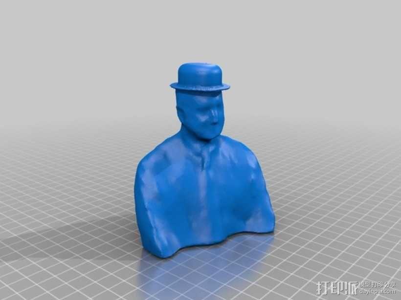 Turner博士半身像雕塑 3D模型  图2