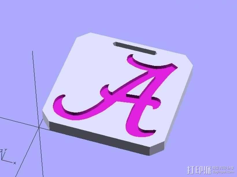 亚拉巴马标签牌 3D模型  图1