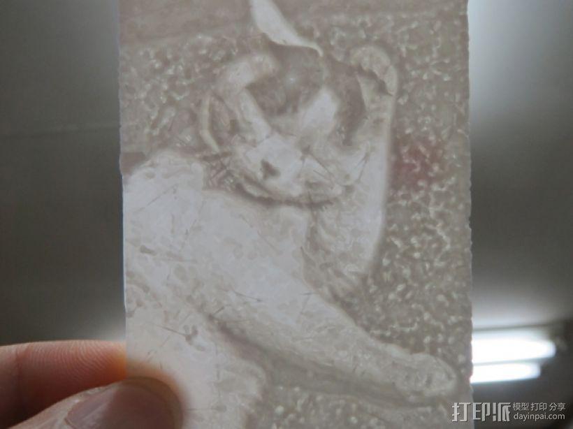 猫咪透光浮雕  3D模型  图1