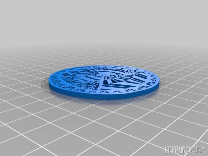 窗花吊坠 3D模型  图1