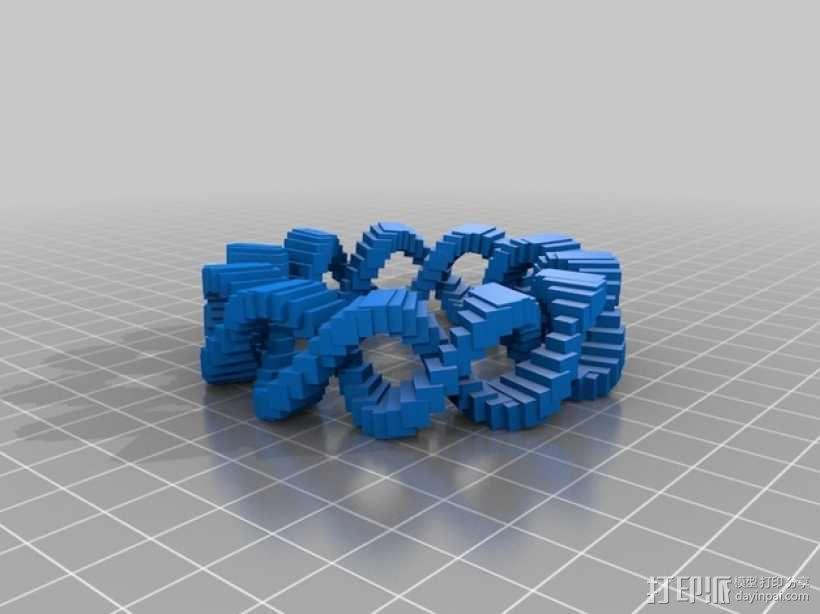 双曲线几何圆环 3D模型  图1