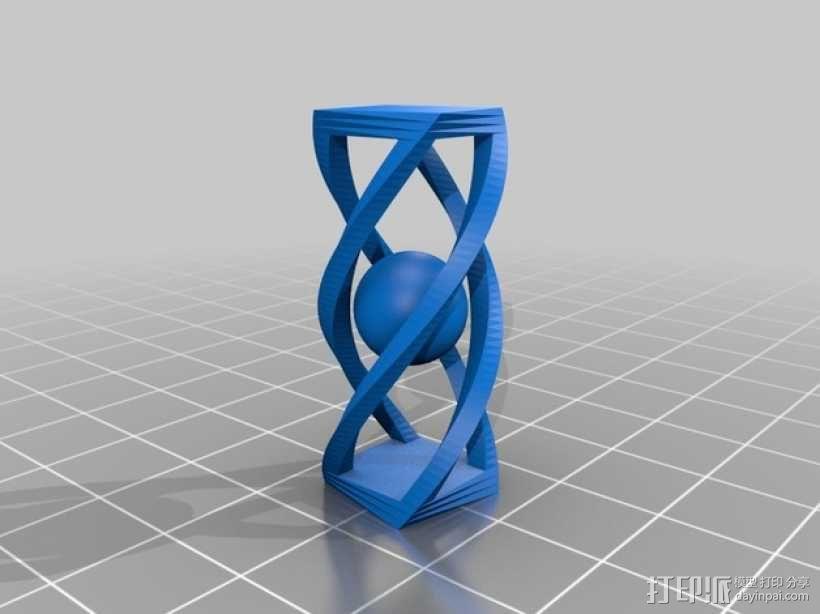 螺旋长方体 小球 3D模型  图1