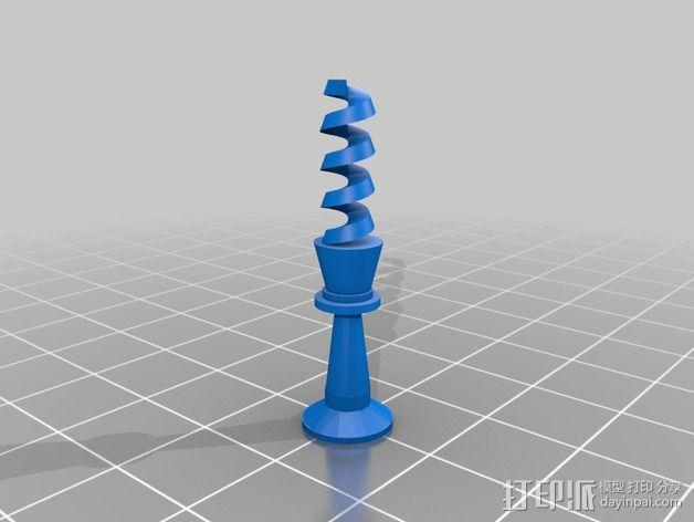 螺旋象棋块 3D模型  图1