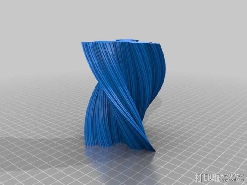 扭的科赫雪花花瓶 3D模型  图2