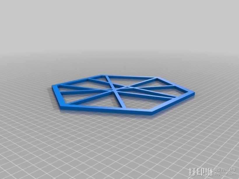 六边形线框式墙饰 3D模型  图1