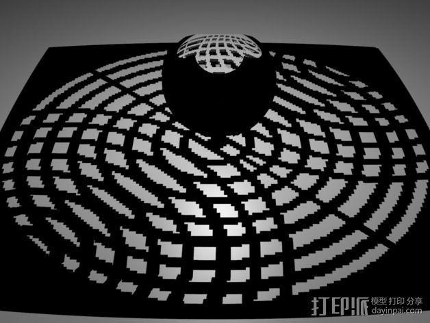 球面投影 蛛网图案 3D模型  图1