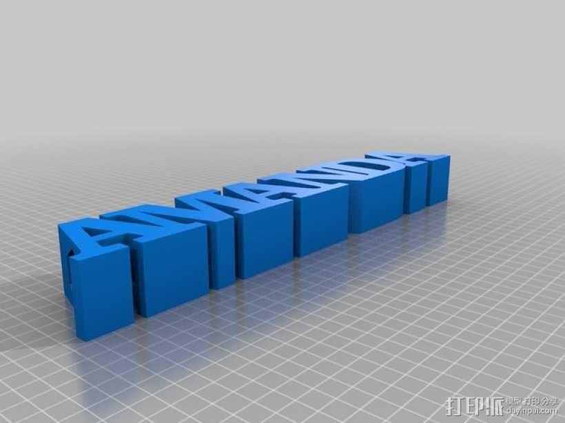 铅笔套 姓名标签 3D模型  图1