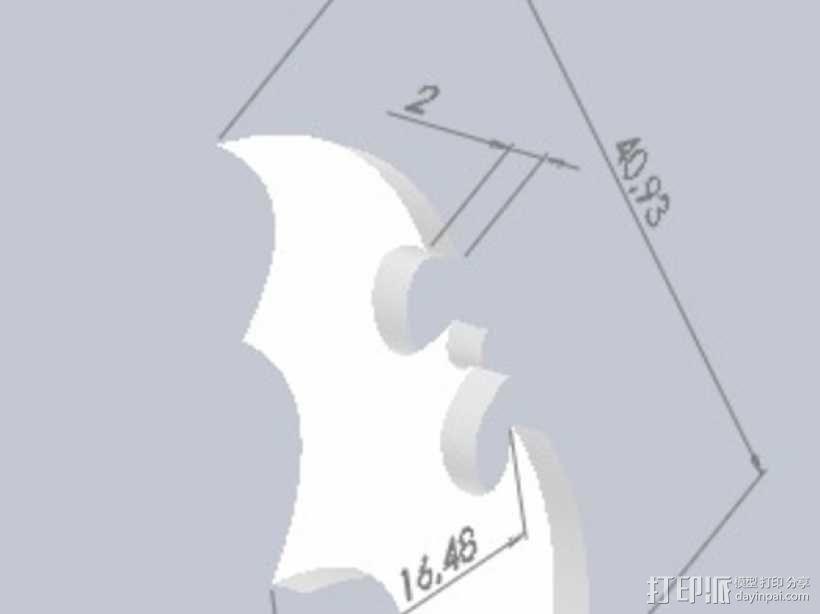 蝙蝠侠标志 3D模型  图2
